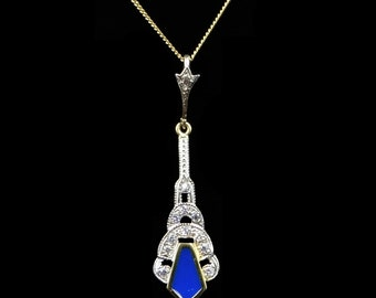 "Blue Enamel and Paste 18ct Yellow Gold on Silver Lavalier Drop Pendant Chain Necklace | Art Deco Style Necklace | 18"" Gold Chain 