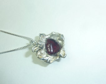 Water-Cast Sterling Silver Necklace with Garnet Pendant