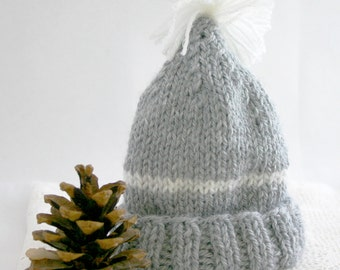 Grey Knit Baby Hat- Beanie- Newborn Size Cap- Boy or Girl-  Gray, White Stripe, Pom Pom