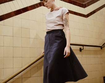Independently Blue A-Line skirt in Wide Wale Corduroy, Navy