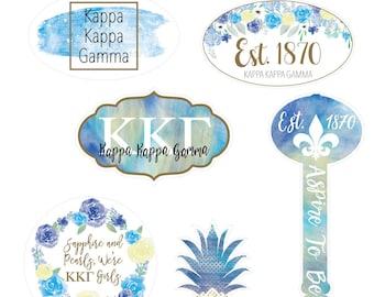 "Stickers -- ""Kappa Kappa Gamma"" Water Color Sticker Sheet"