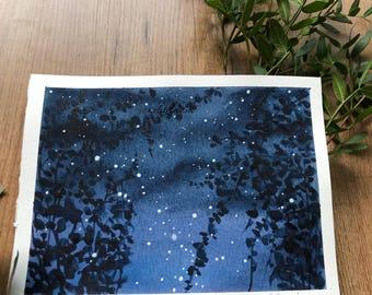 "Original night sky silhouette illustration painting leaves stars artwork wall art abstract botanical art 6""X8"" cm Aquarelle contemporary art"