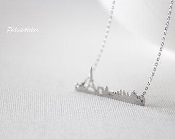 Paris Necklace in Silver/ Gold. Collarbone Necklace. France Necklace. Paris Skyline. Souvenir. Unisex Gift (PNL-165)