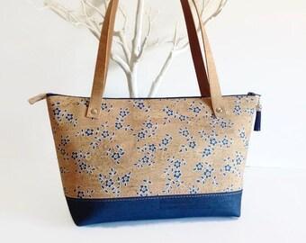 Eco Friendly Cork Bag with Blue Flower Print, Vegan Gift