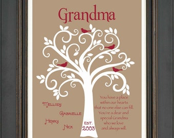 Grandma Gift- Family Tree - 8x10 Custom Print- Personalized gift for Grandmother - Mother's Day Gift - Can be done in other colors