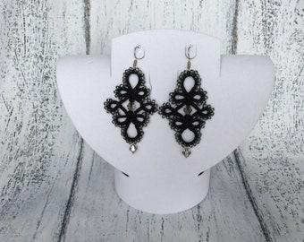 Black tatting earrings Tatting earrings Elegant lace earrings Tatted earrings Crochet earrings Tatted jewelry Lace jewelry Earring Frivolite