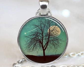 Tree Necklace, Tree Pendant, Shooting Star And Moon Jewelry, Comet Pendant, Necklace (PD0620)