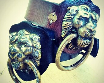 Heyltje Rose Lion Knocker Bracelet Leather Cuff Antiqued Brass on brown or black Cowhide with blue lining
