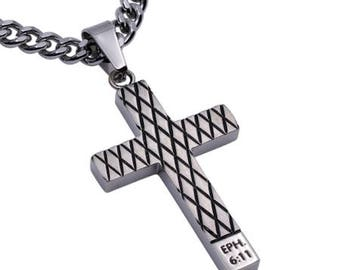 "Diamond Cross Necklace ""Armour of God"""