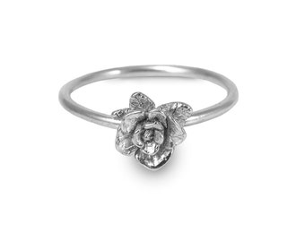 Mini Rose Ring, Rose Ring, Sterling Silver Ring, Handmade Ring