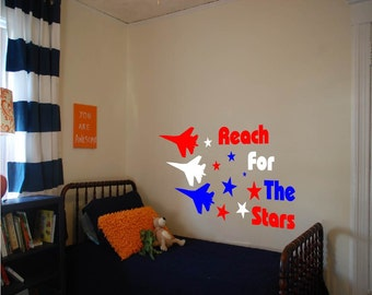 Vinyl Fighter Jets, Boys Room Wall Decal, Reach For The Stars Decal, Boys Decor
