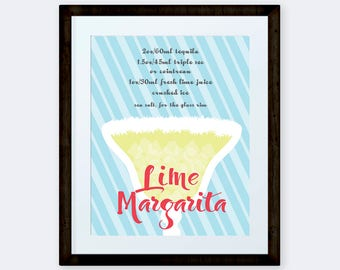 Lime Margarita Cocktail Print, Alcoholic Drink Poster, Man Cave print, Party supplies, bar art, INSTANT DOWNLOAD