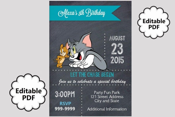 EDITABLE TEXT Tom and Jerry Birthday Invitation Tom and