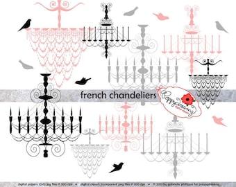 French Chandelier Silhouette - Clip Art Pack (300 dpi transparent png) Card Making Digital Paris French Chandelier Silouhette Bird Clipart