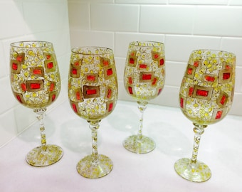 Vintage Wine Glasses Art Glass Set of 4 Bar Ware Stem Ware Glasses Red & Gold Water Goblets Christmas Stem Ware Red and Gold