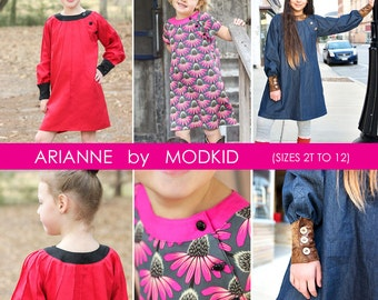 Arianne A-Line Dress PDF Downloadable Pattern by MODKID... sizes 2T to 12 Girls included - Instant Download