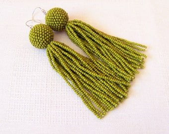 Moss Green Beaded tassel earrings - Statement Earrings - Dangle moss green earrings - Long tassel earrings - Fringe earrings - beadwork
