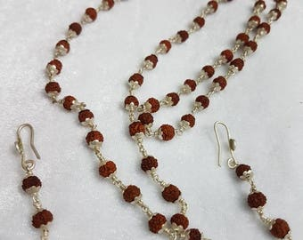 Beautiful silver rudraksha necklace  with earrings