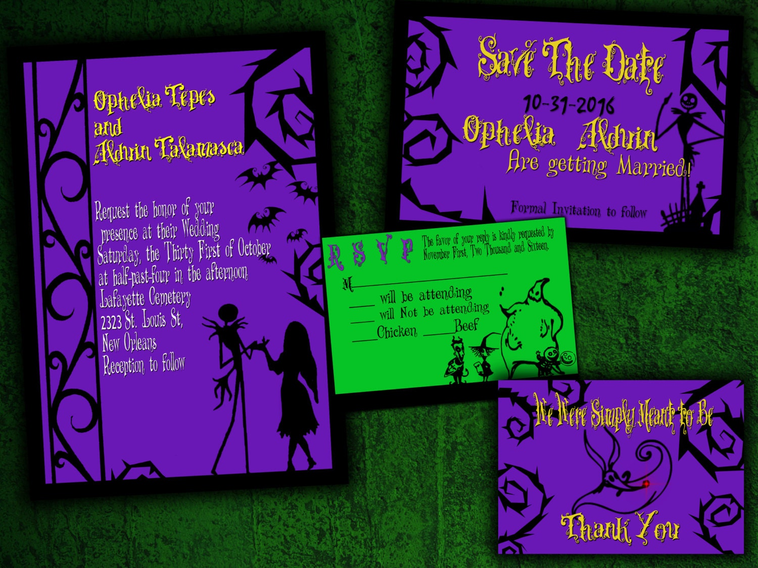 The Nightmare Before Christmas Inspired Wedding Invitation