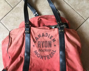 Vintage Canadien Ryon Hockey Montreal Canvas and Leather Hockey Bag 1950's