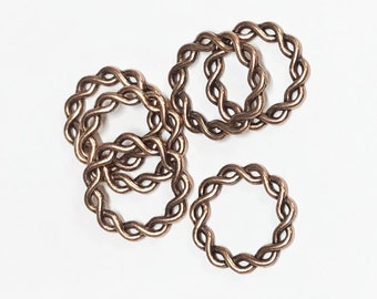 10 pcs of Antiqued copper twisted rings 20 mm
