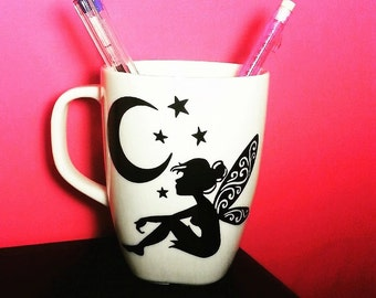 "Mug with handmade vinyl ""fairy and moon"" adhesive , decal"
