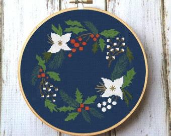 Modern Floral Cross Stitch Pattern Digital download PDF Pillow embroidered X172
