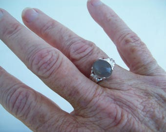 Genuine Rare Luminous Gray Moonstone Ring in Pure Sterling Silver  Leaf Setting - Size 7