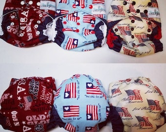 Fourth of July Patriotic OS Diaper