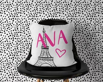 Personalized Paris Pillow, Girl Nursery Travel Pillow, Eiffel Tower Pillow, Name Paris France Pillow, Travel Nursery Decor, Travel