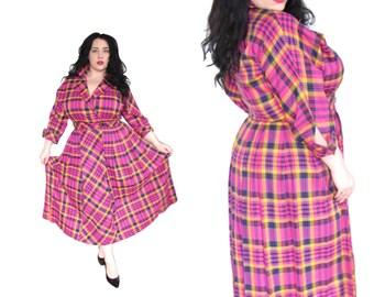 Plus Size Dress / Vintage 1950's Style Neon Plaid Dress / Size L-XL