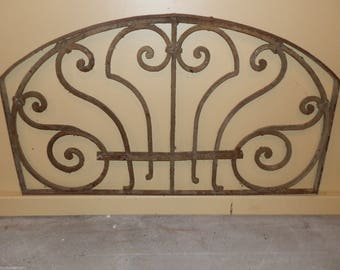 Gorgeous Antique Hand Forged Art Nouveau Arched Iron Panel