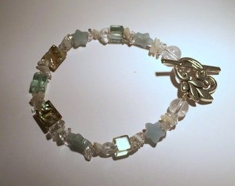 Ocean Breeze - MOP, Amazonite, Abalone and Rock Crystal Bracelet with Flower Toggle