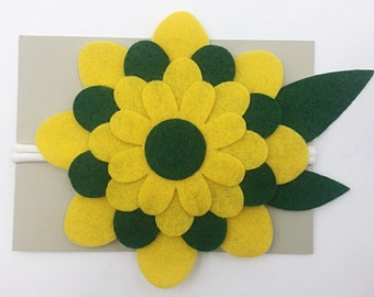 Green and Yellow Large Bloom Headband