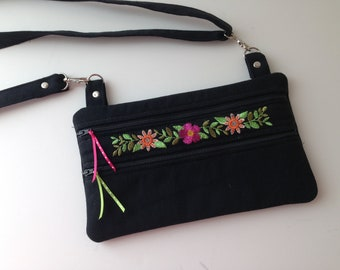 Black Denim Crossbody Shoulder Bag Small Zippered Pockets Floral Embroidered Design