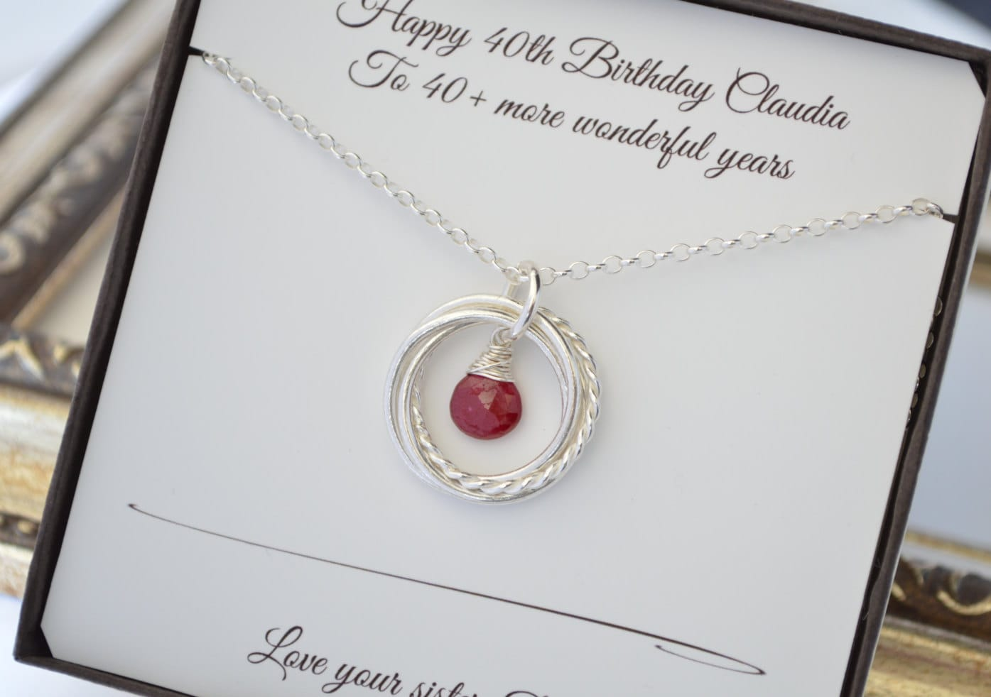 40th Wedding Anniversary Gifts For Friends: 40th Birthday Gift For Her, July Birthstone Necklace, 4