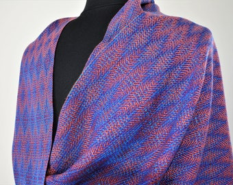 Handwoven Blue and Adobe Tencel Shawl, Midnight in Sedona Wrap, Wide Fancy Diamonds Scarf