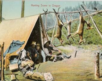 Hunting Scene in Oregon Vintage Postcard circa 1920s