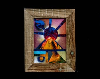 Driftwood Framed Spray Paint Art Volcano Erupting the Sun