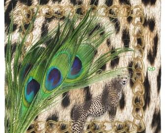 Peacock Leaf Cheetah NeckScarf/animalier Poly scarf/Endless ChiC peacock feather Accessory Cheetah/90 x 90 cm.