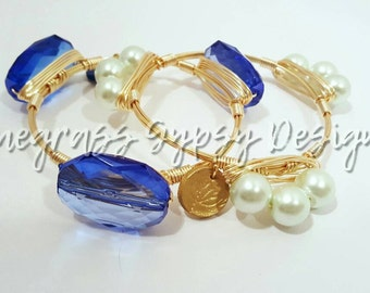 University of Kentucky, blue Wire Wrapped Bangle, UK Bracelet, Bourbon and Boweties Inspired