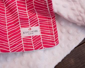 Baby Girl - Lovey - Blankie - Security blanket - Minky - Poppy Herringbone - Pink - White - Baby shower gift