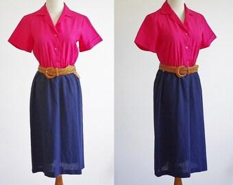 Vintage Color Block Dress, Pink and Navy Blue Shirtdress, Short Sleeve Dress, 70s Dress, 1970s Shirtwaist Dress, Office Wear, Bust 36 Medium