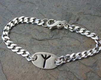 Protection Rune stone bracelet- Handmade fine silver Rune -Algiz or Custom Initial- Viking - Personalized - Mens & Womens- free shipping USA