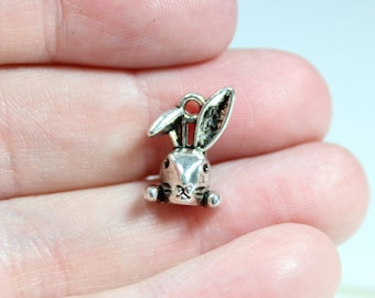 8 Antique Silver Rabbit Head Charms