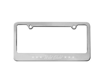 Personalized Car License Plate Frame - Metal Frame - License Plate Holder - Chrome Silver - Gifts