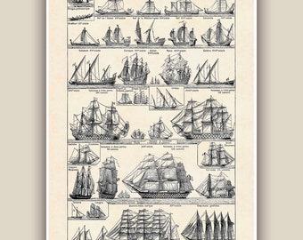 Nautical Print, Vintage sail and row boat images, Seaside Prints, sailboat print,  nautical  sailing Decor,  cottage decor, Coastal decor