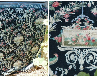"""Vintage Antique French Victorian 1890s faded printed cotton fabric  Floral  Cartouche with basket of flowers 52 """" x 33 """""""