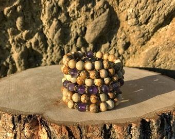 AQUARIUS Zodiac Bracelet | AMETHYST & JASPER 108 Bead Mala | January February Birthday | Meditation, Prayer, Yoga Beads, 108 Mala Beads