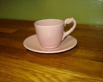 Vernon Kilns Native California Pink Demitasse Cup and Saucer
